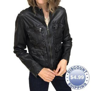 What Goes Around Comes Around Black Leather Jacket